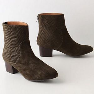 Anthro Schuler & Sons green snake stamped booties
